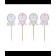Piques drapeaux décoration gâteau fleurettes