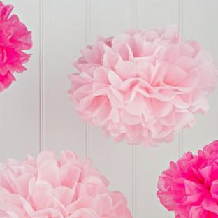 5 pompons boules papier roses assortis
