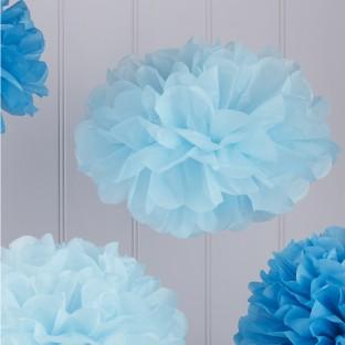 5 pompons en papier mix bleus assortis