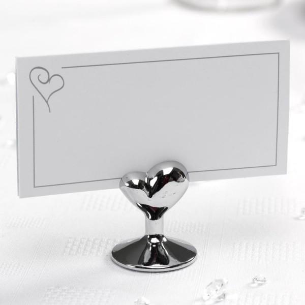 Marque place mariage coeur argent accessoires de table creative emotions - Support nom de table mariage ...