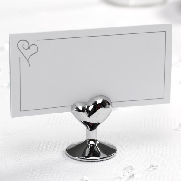 marque place porte nom mariage coeur argent accessoires de table creative emotions. Black Bedroom Furniture Sets. Home Design Ideas