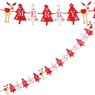 Banderole fanions salle Noël Rudolf le cerf