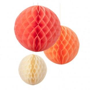 Boules papier alvéolées pastel blush