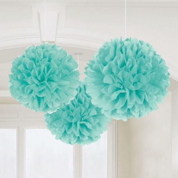 3 grands pompons en papier vert menthe chevron party. Black Bedroom Furniture Sets. Home Design Ideas