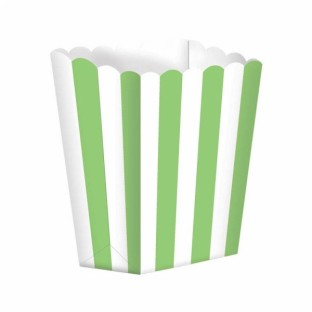 Pots à popcorn rayures blanc et vert anis (x 5)