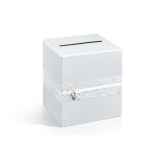 Urne carrée blanche ruban dentelle, customisable