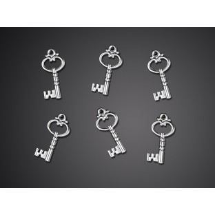 25 Médaillons clés argentée coeur charms