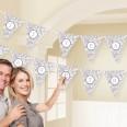 Banderole personnalisable DIY à fanions gris argent