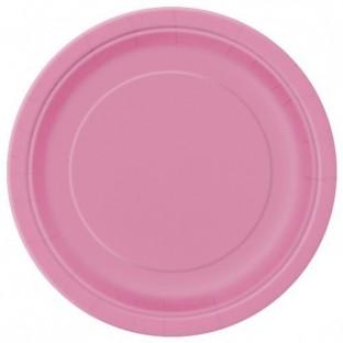 20 assiettes jetables en carton rose vif  23 cm