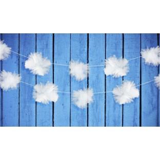 3 guirlandes pompon tulle blanc