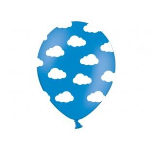 5 ballons bleu avec nuages blancs