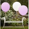 3 ballons géants roses et blanc 90 cm