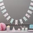 Guirlande fanion baby shower chevron pastel