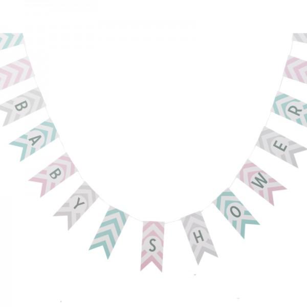 Guirlande fanion baby shower chevron pastel baby chevrons creative emotions - Guirlande baby shower ...