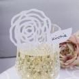 Marque place sur verre fleur vintage blanc (x 10)
