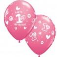 Ballons premier anniversaire fille rose