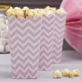 8 Pots à popcorn chevrons rose pale candy bar