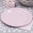 8 assiettes jetables motif chevron rose