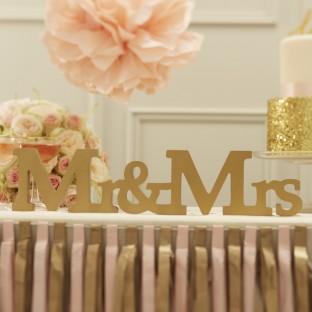 Mr & Mrs lettres en bois mariage doré