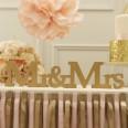 Mr & Mrs lettres en bois doré