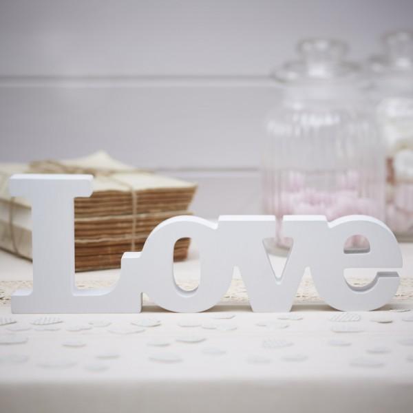 lettres deco love en bois blanc cadeaux invit s mariage. Black Bedroom Furniture Sets. Home Design Ideas