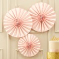 3 rosaces papier rose pastel blush so chic