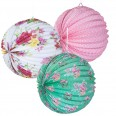 3 lanternes lampion flower liberty shabby tea party