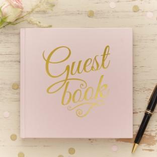 Livre d'or guestbook rose et or glitter