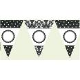 Banderole personnalisable DIY à fanions noir blanc