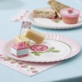 Assiettes Vintage shabby liberty rose (x8)