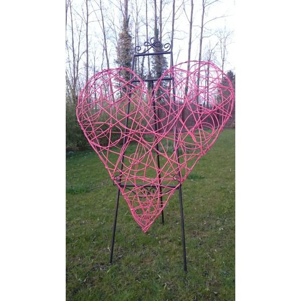 Location grand coeur en osier rotin rose 120cm location deco creative emotions - Coeur en osier ...