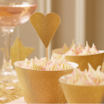 12 pics cupcake gâteau coeur doré glitter paillettes