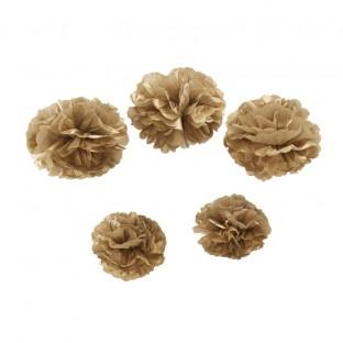 5 pompons en papier OR