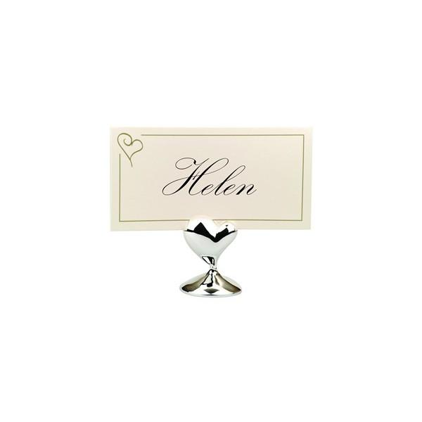 Marque place porte nom mariage coeur argent accessoires de table creative emotions - Support nom de table mariage ...