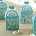 50 boîtes à dragées lanterne coeur bleu aqua