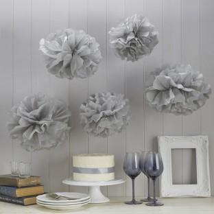 5 pompons gris boules en papier DIY