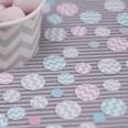 Confettis ronds pastel rose mint blanc chevron zigzag
