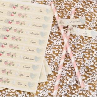 30 Stickers étiquettes pailles drapeaux shabby love