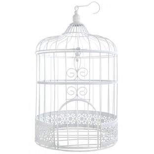 LOCATION Cage à oiseau décorative blanc metal