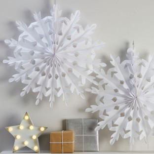 2 flocons de neige en papier alvéolé 60 cm