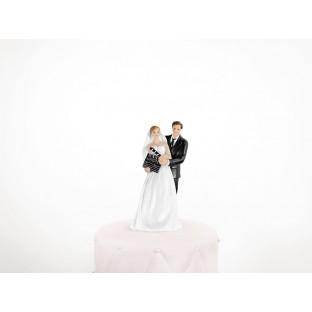 Figurine gateau jeunes mariés clap cinéma
