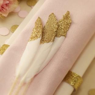 10 plumes paillettes or déco de table glitter
