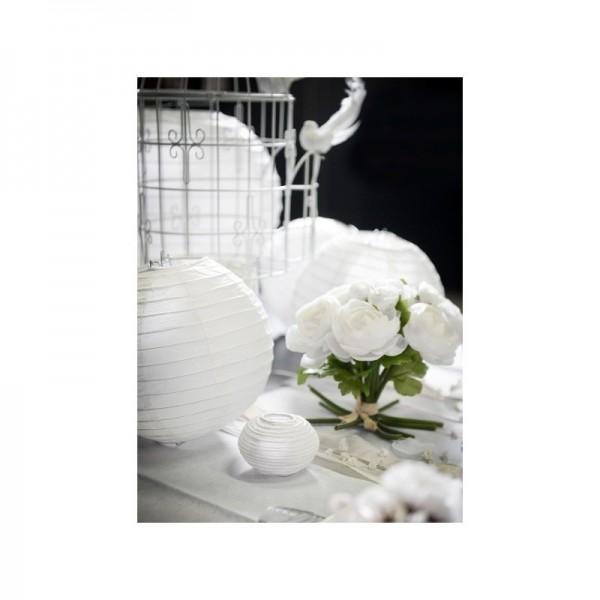 1 lanterne chinoise en papier blanc 30cm pompons et - Lanterne chinoise papier ...