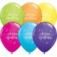 6 Ballons Happy Birthday étoiles serpentins