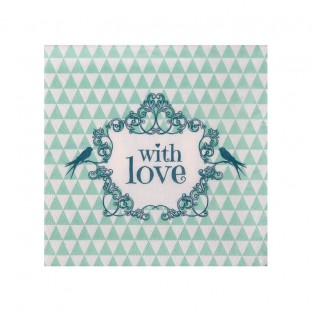 "20 serviettes ""with love"" vintage menthe oiseau"