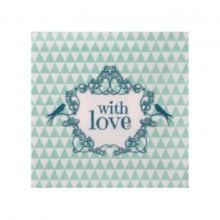 """20 serviettes """"with love"""" vintage menthe oiseau"""