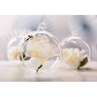 4 Photophore verre boule à suspendre 10 cm
