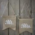"""2 fanions dos de chaises mariage jute """"Mr"""" """"Mrs"""""""