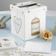 Urne mariage cage oiseau coeur kraft