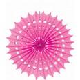 1 éventail rosace en papier damassé fuchsia